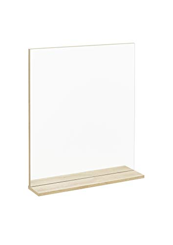 Fakelmann Spiegelelement Fin/badkamerspiegel met plank/afmetingen (b x h x d): ca. 60 x 69,5 x 13,5 cm/hoogwaardige rechthoekige spiegel voor badkamer en toilet, plank: licht bruin, breedte: 60 cm.