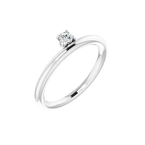 Anillo apilable de diamantes de oro blanco de 14 quilates, 3 mm, pulido de 0,1 quilates, tamaño N 1/2, joyería regalo para mujer