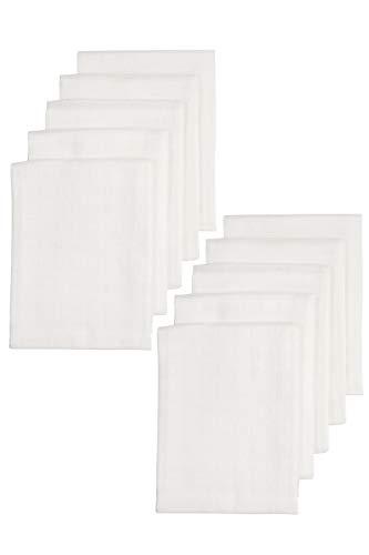 Meyco 452200 - Pañales de tela (10 unidades, 70 x 70 cm, 100% algodón), color blanco