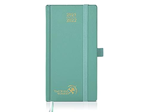 Agenda Tascabile 2021 2022 Settimanale di POPRUN - Diario Piccola Agosto 2021 - Agosto 2022 - Pagine di Note e Contatto, Copertina Rigida - Circa A6 16,8 x 9 cm, Verde Mezzanotte