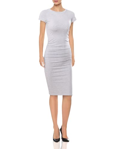 Missufe Women's Ruched Casual Sundress Midi Bodycon Sheath Dress (Gray, X-Large) (Apparel)