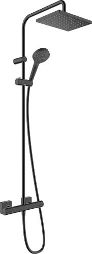 hansgrohe Sistema de ducha Vernis Shape, tamaño del cabezal de ducha 230 x 170 mm, incluye termostato, alcachofa de ducha, barra de ducha, ducha de lluvia con 1 tipo de chorro, color negro mate