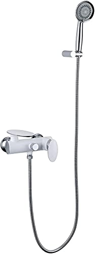 NFRMJMR Cascada Bath Bath MEZCLER TAP CON DUCHA DE PANTALLA DE PANTALLA, Baño Montado en la pared Kit de grifo de ducha Latón Bañera Mezclador Grifo Sola manija Tapas de llenado, Ducha de 3 Modos