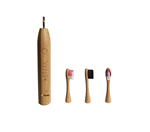 Fayet Bamboo Smart Sonic Electric Toothbrush, IPX7 Waterproof Lightweight Automatic Eco Friendly Electric Toothbrushes 5 Modes