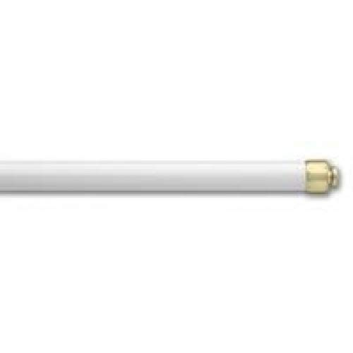 Graber 7/16-Inch Round Sash Cafe Curtain Rod (18 to 28-Inches Adjustable Width, White w/Brass Ends)
