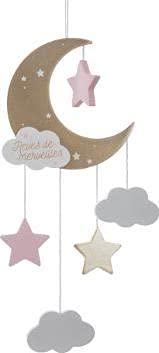 Mond mit Wolken und Sternen aus Holz I Hängende Deko Mobile I Kinderzimmer Dekoration I Deckenmobile, Windspiel I Hängedekoration I Blickfang am Babybett, Kinderbett I für Babys ab 0+M