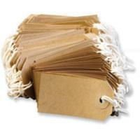50 Small Brown/Buff (Manilla) Strung 70x35mm Tag/Tie On Luggage Labels