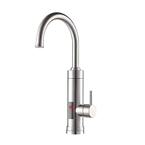 EUNEWR Edelstahl Elektrische Wasserhahn 3000W 45℃-70℃ LEDTemperaturanzeige Küchenarmatur