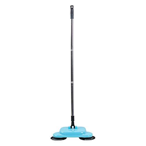 NIHAOA - Empuje manualmente Sweeper Mágico Spinning Broom 360 ° de rotación, Incluidas Escoba recogedor Papelera Limpiador sin Electricidad Azul Ambiental