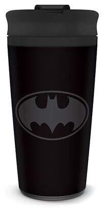 Batman Metal Travel Mug Coffee-To-Go-Becher Logo schwarz, bedruckt, aus doppelwandigem Edelstahl.