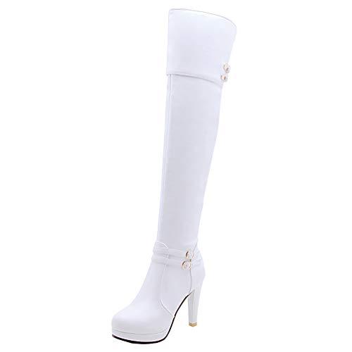 PIXIEFOOT Damen Overknee High Heels Stiefel Stiletto Langschaftstiefel Thigh Boots mit Reißverschluss und Schnallen Mode Schuhe