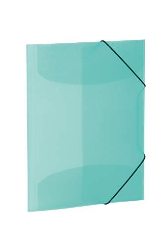 HERMA 19584–Cartellina DIN A3, in plastica, con gomma con elastici, colore: trasparente/Turchese, 1pezzi