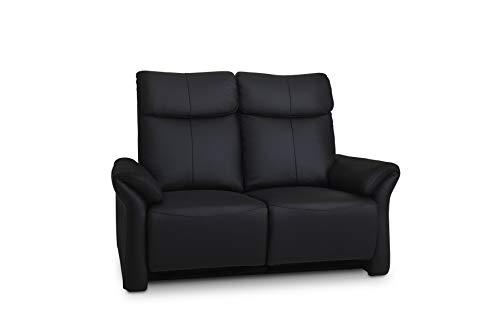 Ibbe Design Schwarz Leder 2er Sitzer Relaxsofa Couch mit Elektrisch Verstellbar Relaxfunktion Heimkino Sofa Luxor mit Fussteil, 151x92x107 cm