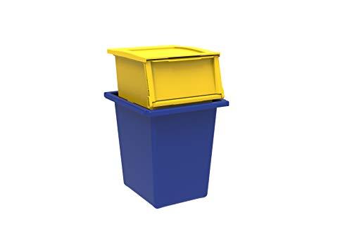 TERRY Ecobin 25+30 Set 2 Contenitori per Il Riciclaggio dei Rifiuti. Colore: Giallo e Blu, Materiale: Polipropilene Antiurto, capacità 25 L + 30 L
