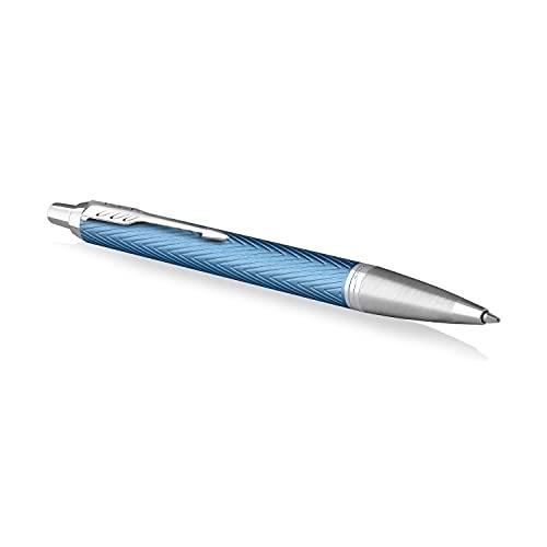 Parker IM bolígrafo   Lacado en azul-gris Premium con adornos cromados   Punta mediana con recambio de tinta azul   Estuche de regalo