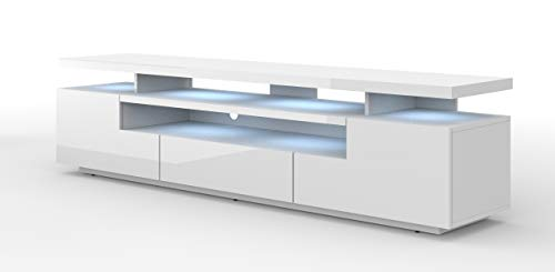 Mueble bajo para TV de EVA 195 cm, cuerpo mate y hoja brillante, mueble para televisor con LED, mueble para televisión, aparador RTV, mueble para TV, mesa de alta fidelidad, iluminación LED