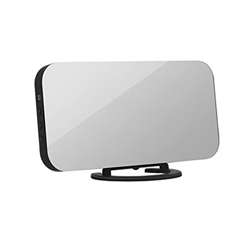 Haowen Reloj Despertador LED con Salida USB Dual, teléfono móvil, Reloj de Espejo con repetición de Carga, Negro