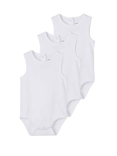 VERTBAUDET Lote de 3 Bodies Blancos sin Mangas 100% algodón bebé Blanco...