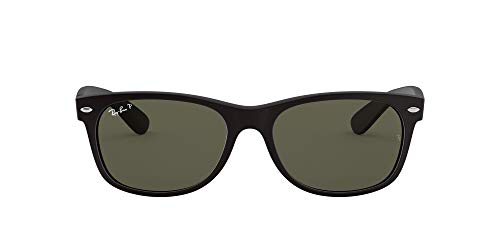 Ray-Ban RB2132 New Wayfarer Polarized Sunglasses, Black Rubber/Polarized Green, 55 mm
