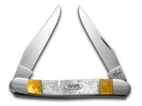 CASE XX Antique Gold and White Pearl Corelon Muskrat Stainless Pocket Knife Knives