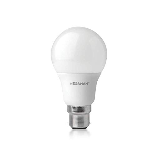Megaman LED Light Bulb 142576 Dimmable RichColour R9 GLS Style Classic Opal LED Light Bulb B22 Bayonet 4000K Cool White 9.5W 810lm A+ Rating 25000 Hours Estimated Life