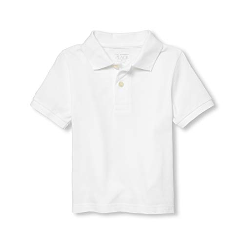 The Children's Place Boys Baby and Toddler Uniform Pique Polo, White, 5T