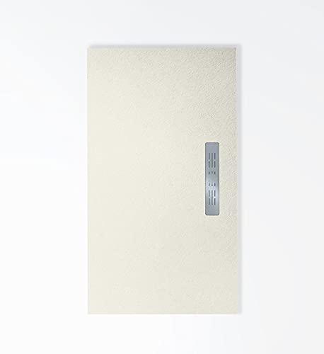 Plato de ducha de resina textura pizarra con desagüe lateral,ultra-fino 2cm, antideslizante C-3, incluye válvula de gran caudal y rejilla en INOX. 15 colores disponibles.