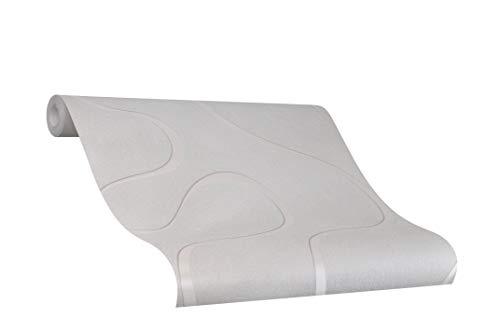 Tapete Grau Welle - Ovale, Linien, Geschwungen - Ideal für Wohnzimmer - Colani Visions - Made in Germany - 10,05m X 0,70m - 53363