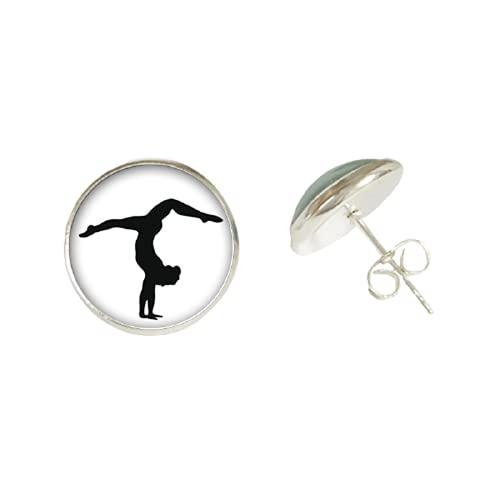 Orecchini da ginnastica a forma di zinnasta, in vetro, stile casual, sportivo, per donne e ragazze