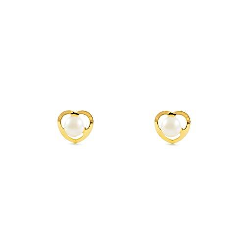 Orecchini per bambini cuore perle - oro giallo 18K (750)