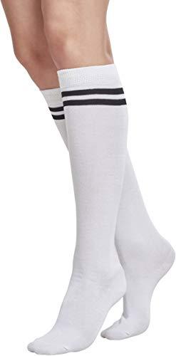 Urban Classics TB770 Damen Matt Fein Kniestrümpfe Ladies College Socks Mehrfarbig (Wht/Blk 224), 37/38 (Herstellergröße: 36-39)