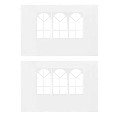 Tidyard 2pz Pareti Laterali per Gazebo da Giardino, PE/Pieghevole, 3 x 1.95 m, Bianco