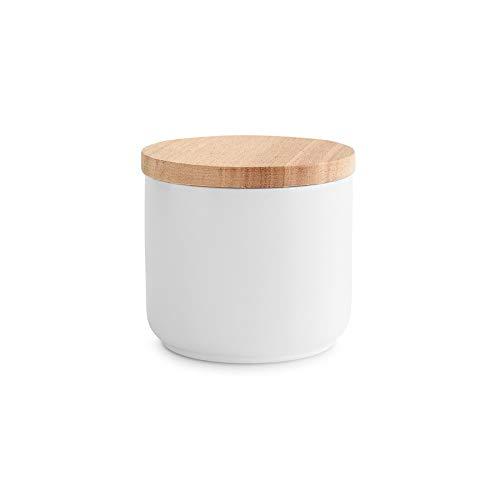 Barattoli per provviste in ceramica con coperchio in legno Sweet Scandi | Coperchio ermetico in gomma | Contenitore con capacità da 400 ml a 1 litro | Altezza da 9,3 fino a 18,3 cm