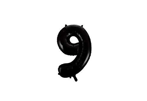 Folie ballon cijfer 9 in het zwart 86 cm
