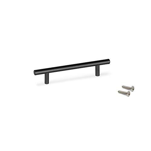 Emuca - Tirador para mueble, tirador para cajón, Zamak, Pintado negro, 128mm, Set de 25