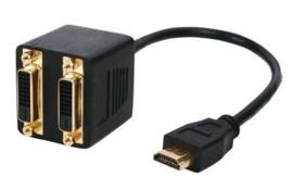 hdmi auf 2 x DVI-Splitter - Premium-Qualität / 24k / HDMI (male) auf DVI x 2 (weiblich) / Grafikkarte / 30cm führen