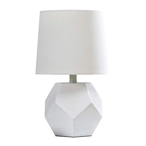 ZWMG Lámparas de Mesa Elegant Simplicity - Lámpara de Mesa de Resina, Base de geometría Blanca, marrón (Color : White)