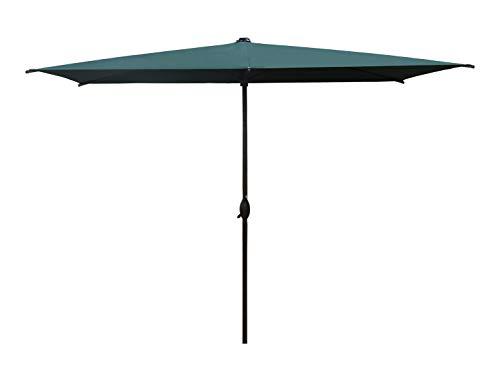 SORARA Parasol Jardin | Vert | 300 x 200 cm (3 x 2 m) | Rectangulaire Porto Deluxe (Mât Bronzé) | Commande à Manivelle | (Excl. Base)
