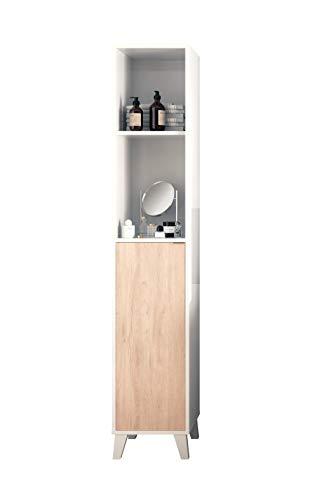 Muebles Pitarch Sintra Columna, Aglomerado de partículas y melanina de Alta Densidad, Blanco/Aurora, 177 x 33 x 30 cm