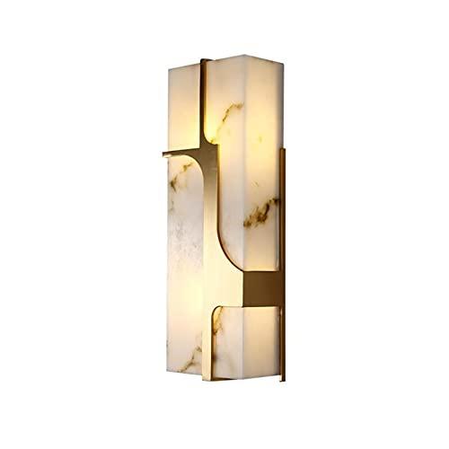 YXLMAONY Aplique de pared moderno accesorio de iluminación, decoración de lámpara de acero inoxidable, pantalla de lámpara de mármol, lámparas LED de sal de cabecera para pared de TV, hotel, dormitori
