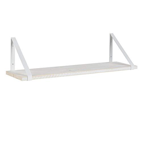 BANAK IMPORTA Nordic Scaffale 80 in Metallo Bianco – Legno – 80 x 22 x 21 cm – Colore Bianco Neve