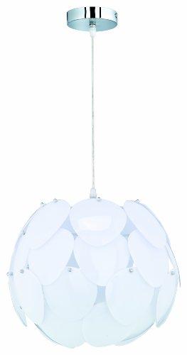Reality Leuchten Pendelleuchte in chrom mit Acrylscheiben weiß / 1 x E27 60 W exklusive Leuchtmittel/ø 40 cm/Pendellänge max. 150 cm R30051001