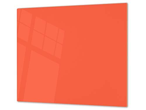 Cubre vitrocerámica y tabla de cortar de cristal templado – Superficie de vidrio templado resistente – UNA PIEZA (60 x 52 cm) o DOS PIEZAS (30 x 52 cm); D18 Serie de colores: E Naranja