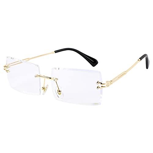 BETESSIN Deko Brille randlos Ohne Stärke transparent Linse Retro Ohne Sehstärke Ohne Rahmen für Frauen Männer Rechteck durchsichtige Linse (Transparent)