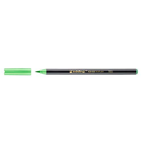 Edding 1340 – 11 – boîte de 10 Marqueurs avec pointe de pinceau, trait Variable, Couleur Vert clair
