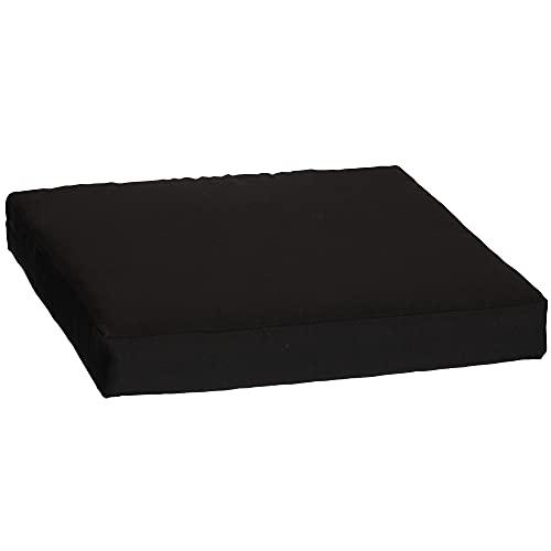 Beo Sitzkissen für Lounge- und Paletten-Möbel | Dunkelgrau | Gr. 60x60 cm, 9 cm dick | glatte Optik | Bezug 60% Baumwolle/40% Polyester | Wasser- und Fleckabweisend | mit Reißverschluss | Öko-Tex-Standard