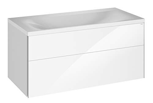 Keuco Badmöbel-Set mit Mineralguss-Waschtisch, Waschtisch-Unterbau mit Frontauszug Hochglanz-weiß, inkl. Ablaufgarnitur, Breite 100 cm Royal Reflex