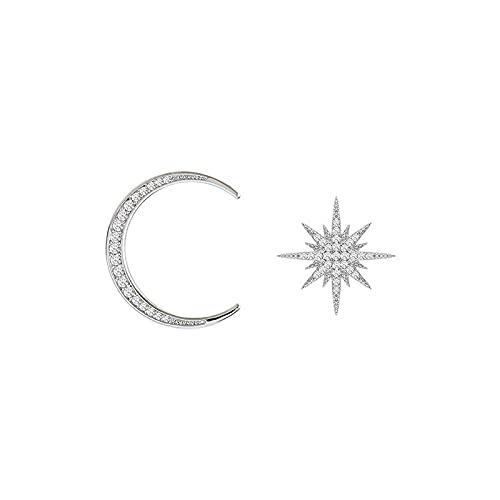YANXIA Pendientes de Aro para Mujer Temperamento Estrella Forma de Luna Pendiente Mujer Elegante Pendiente de Fiesta Regalo