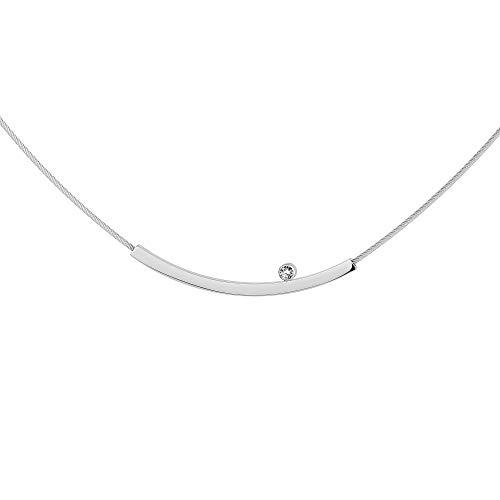 Ernstes Design Collier Halskette K800 Edelstahl Brillant 0,02 ct. Drahtseil Clic
