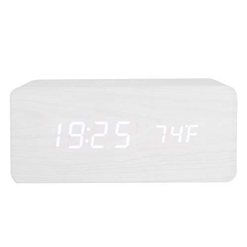 Reloj Despertador Digital con Altavoz Bluetooth y Alarma Tríple, Alarma de Espejo Portátil con Pantalla LED, Alarma Despertador Carga de Energía Inalámbrica al Teléfono(Madera Blanca + Luz Bla